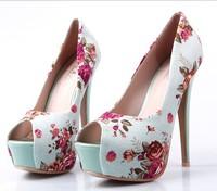 Туфли на высоком каблуке EUR34-45 Drop shipping hot sell pumps, two paragraph waterproof, high heels shoes, colorful diamond women shoes stilettos S048