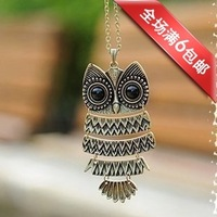 FREE SHIPPING C103 vintage accessories owl long necklace female necklace sweater pendant Discounting