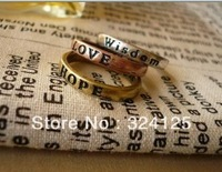 Free shipping 10pcs Simple retro letter wishing ring fashion finger ring