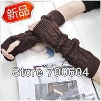 Free Shipping 2012 Fashion New Arrival Korean Design Knitted Women Gilrs's Long Design Autumn Winter Warm Fingerless Gloves
