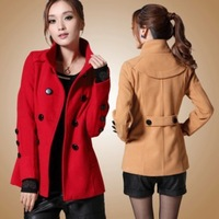 2012 cashmere outerwear wool coat double breasted Wine red woolen outerwear