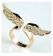 Fashion jewelry alloy color angel wings with Ladies Ring Woman Luxurious Paragraph fashion !#77(China (Mainland))