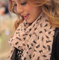 free shipping/2012 Autumn&Winter Scarves & Wraps fashion little cat print /cute street style muffler/10pcs/lot
