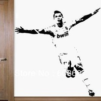 Free shipping Wall sticker CHRISTIANO RONALDO REAL MADRID LA LIGA FOOTBALL Wall Mural Decal Home Decor Art Wall decor Vinyl C-44