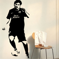 Free Shipping Wholesale  Wall stickers Home Garden Wall Decor  Vinyl Removable Art Mural Home decor Messi football M-59