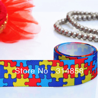 "Free shipping 1"" autism grosgran ribbon100% polyester grosgrain ribbon, ribbon bow 50yards per lot white fabric tape"