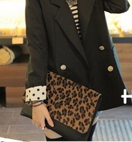 Wholesale/retail lady Leopard Faux Horse Hair Leather Cluth Bag,Women Shoulder 2012 Handbag Envelope Evening Bag,Free Shipping
