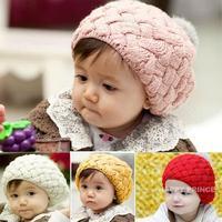 Free shippping New Cute Winter Knit Crochet Beanie Rabbit Fur Hat For Baby Kids Girls Gift