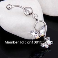 Clear Two Butterfly Dangle Navel Ring Belly Rings Body Button Bars Jewellery