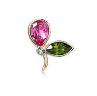 Bling Austria Crystal Rhinestone Brooch, Rosy and Emerald Leaf Shape, for Wedding or Party