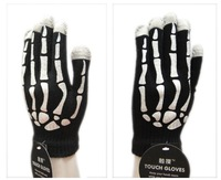 Free Shipping 10psc 1 lot ,Skull Printing Touch screen mobile phone Screen touch gloves, Warm magic glove