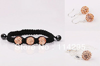 Sell Crazy Champagne Shamballa Jewelry Sets 925 Sterling Silver CZ Disco Crystal Bracelet+Necklace Pendant+Earring+Factory Price