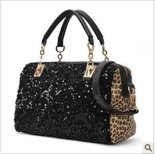 2012 hot sale fashion women genuine Leather Bags  fashion black paillette leopard print shoulder handbag messenger bag
