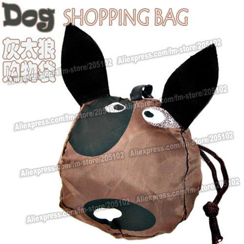 Joli cadeau! Chien de chasse 15pcs/lot animal pliage sac shopping tissu, couleur brun éco- amicalequalité pliable sac de poignée, livraison gratuite