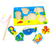 Marine magnetic fishing toy parent-child wooden chidren puzzle Min order is$10(mix order)