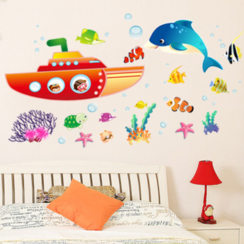 Wall stickers child cartoon wall stickers bathtub shark FREE SHIPPING