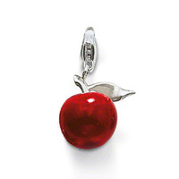 925 silver with red transparent glazed apple Pendant Fit Bracelet #TS T0033-007-10
