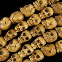 "wholesale 12mm ox bone hand carved skull beads 8"" strand 16pcsbeads (bracelet)"