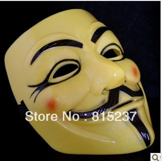 PVC White Color Guy Fawkes V for Vendetta Mask New Year Party Mask Free Shipping (20 pieces/Lot)(China (Mainland))