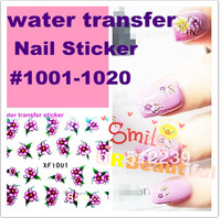 Free shipping 100 x Nail Art Sticker Water transfer Temporary Tattoos Watermark Stickers 1001-1020