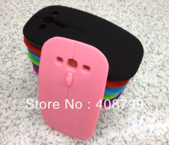 Free shipping by DHL/Fedex 100pcs 3D phone case computer Mouse case for Samsung Galaxy S3 S III I9300 with pe sample package(China (Mainland))