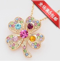 FREE SHIPPING WHOLESALE Y010 paragraph accessories romantic full rhinestone colorful four leaf clover necklace fashion diamond