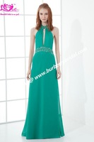 2013 New Designer Style Of Evening apparel Pleat Beading Halter Straight Chiffon Sexy Own Evening\Coctail\Party Dress\Gown