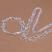 Free Shipping Wholesale 925 silver jewelry set, fashion jewlery set Five Lines Of Bean Two-Piece Jewelry Set S063