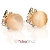 Wholesale - 10pcs Elegant Beauty Cute Gold White Opal Crystal Butterflies Studs Earrings 261536