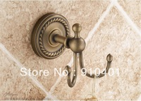 Free Shipping luxury lovely home bath Antique brass clothes coat& hat &towl hook wall mount classic style