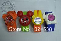 Free Shipping 2012 Fashion Boy Girl Child Kids Multicolor Multi-Styles Cartoon Animal Shape Mini Kids Slap On Watches 20 Style