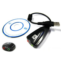 Hot Sale computer usb external sound card 7.1 channel sound track without drive Black 1pc free shipping