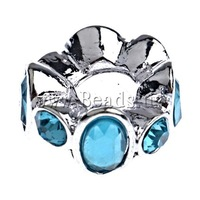 10PCs/Bag, Rhinestone Zinc Alloy European Beads, Rondelle, with wave lace, no troll, 14.5x8mm, Hole:Approx 5mm, Sold by Bag