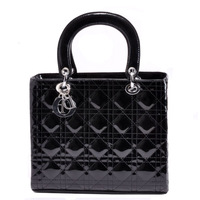 HOT SALE high quality freeshipping women's black plaid patent leather handbag bags Promotion!!