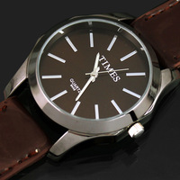 Brown Fashion Luxury Gentle Men's Man Analog Dress Leather Band Quartz Wrist Watches, SDR