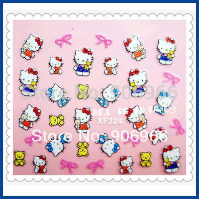 Best selling!! NEW 3D nail sticker Decal Hello Kitty designs Nail Art Stickers Nail Decoration 20Pcs/Lot Free shipping(China (Mainland))