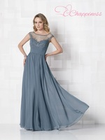 Free Shipping A-line Cap Sleeves Long Ruched Applique Chiffon Mother of Brides Dresses
