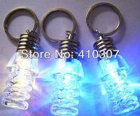 Spiral Shape LED Light Bulb Creative Keychain Fashion Key Ring Mini Garget Colorful Flash in Dark New Arrival Freeshipping 30pcs