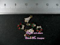 New arrived 100pcs/lot High quality Mixed X'Mas Christmas designs 3D Alloy Rhinestones Nail Art - Free Shipping