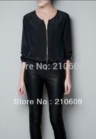 New zipper printed silk back leopard head blouse shirt