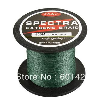 Hot Sale! New brand 20LB 0.2MM 500m MOSS GREEN  100% spectra fishing Braid line