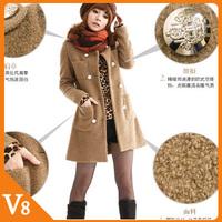 Free Shipping Women's Clothing  Korean winter coat women outerwear medium-long woolen coat jacket women winter outerwear female