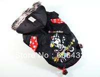 Cool Pet Dog Puppy apparel cloth Clothing Winter warm Coat Black Skull pattern