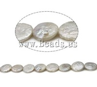 FREE SHIPPING AA Grade White Natural Cultured Freshwater Coin Pearl Beads 14mm, Jewelry Findings DIY ,Craft beads