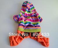 Dod  clothing clothe pet warm Coat trousers hat XXS XS S M L color stripe Brown Orange
