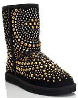 Fashion Studded Real Leather #520 Flat Heel Hot Sale Winter Snow Mid-calf Boots,US 5-8.5,Womens/Ladies Shoes