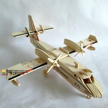 New fancy Intelligent toy 3D plane model WOODEN PUZZLE DIY WOODCRAFT CONSTRUCTION KIT handmade Amphibious aircraft W032