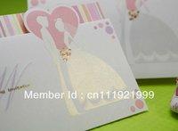 Sweet Bride & Groom Design Tri-fold Wedding Invitation (Set of 50) Printable and Customizable Wholesale Free Shipping