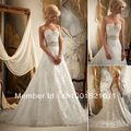 Free shipping A-line Court Train Sweetheart Beaded Bodice Lace White Chiffon Sexy Wedding Dresses 100% Guarantee Satisfaction
