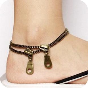 12pcs Fashion Vintage Punk Design Zip Anklets Jewelry Bracelet  261533